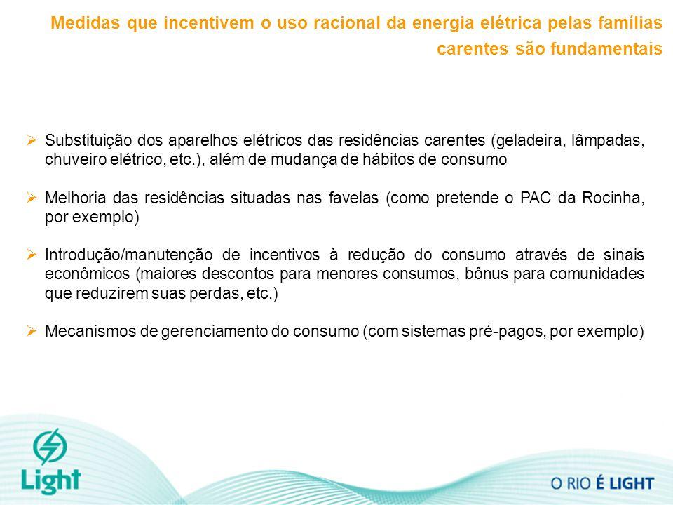 Medidas que incentivem o uso racional da energia elétrica pelas famílias carentes são fundamentais Substituição dos aparelhos elétricos das residências carentes (geladeira, lâmpadas, chuveiro elétrico, etc.), além de mudança de hábitos de consumo Melhoria das residências situadas nas favelas (como pretende o PAC da Rocinha, por exemplo) Introdução/manutenção de incentivos à redução do consumo através de sinais econômicos (maiores descontos para menores consumos, bônus para comunidades que reduzirem suas perdas, etc.) Mecanismos de gerenciamento do consumo (com sistemas pré-pagos, por exemplo)
