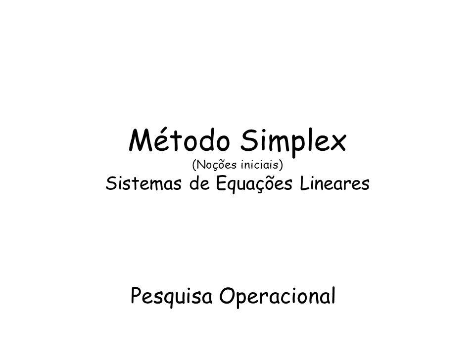 Método Simplex (Noções iniciais) Sistemas de Equações Lineares Pesquisa Operacional