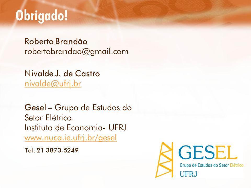 Obrigado! Roberto Brandão robertobrandao@gmail.com Nivalde J. de Castro nivalde@ufrj.br nivalde@ufrj.br Gesel – Grupo de Estudos do Setor Elétrico. In