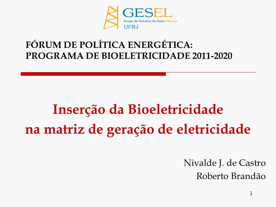 1 Inserção da Bioeletricidade na matriz de geração de eletricidade Nivalde J.