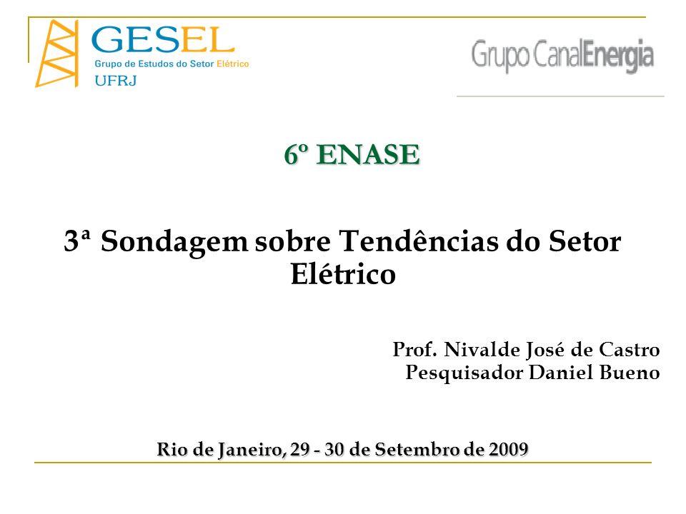 3ª Sondagem sobre Tendências do Setor Elétrico Prof. Nivalde José de Castro Pesquisador Daniel Bueno Rio de Janeiro, 29 - 30 de Setembro de 2009 6º EN
