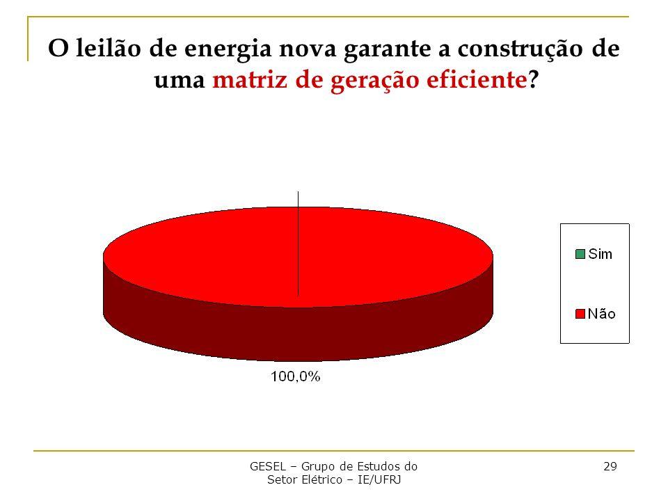GESEL – Grupo de Estudos do Setor Elétrico – IE/UFRJ 29 O leilão de energia nova garante a construção de uma matriz de geração eficiente?