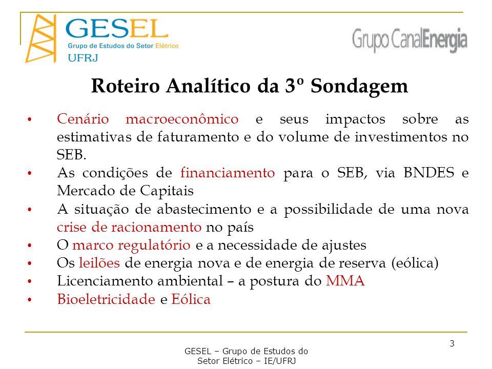 GESEL – Grupo de Estudos do Setor Elétrico – IE/UFRJ 3 Roteiro Analítico da 3º Sondagem Cenário macroeconômico e seus impactos sobre as estimativas de faturamento e do volume de investimentos no SEB.