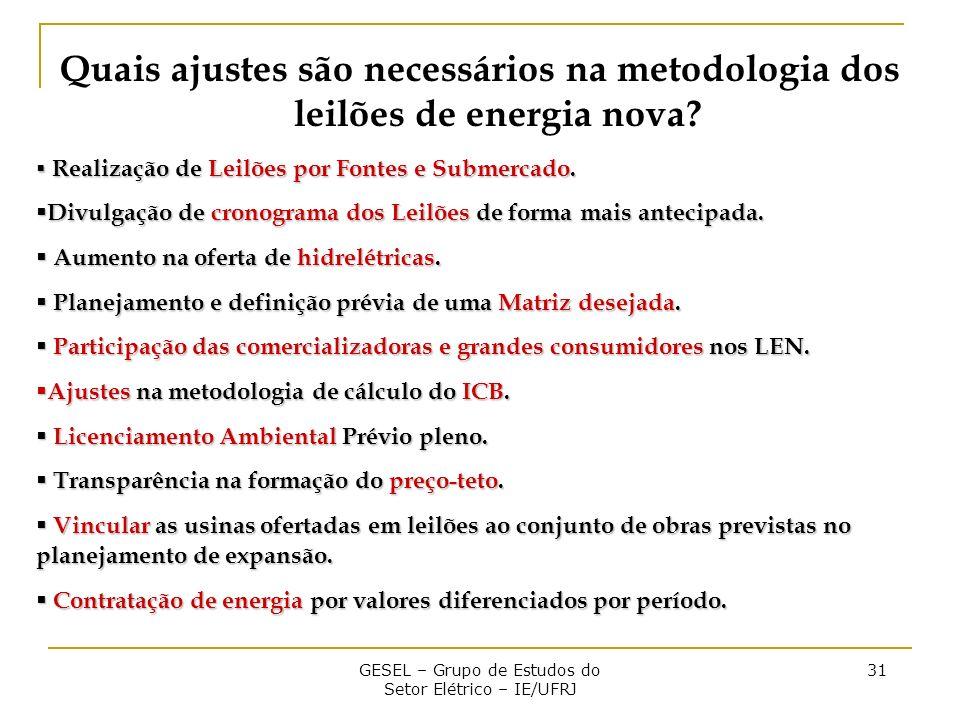 GESEL – Grupo de Estudos do Setor Elétrico – IE/UFRJ 31 Quais ajustes são necessários na metodologia dos leilões de energia nova.