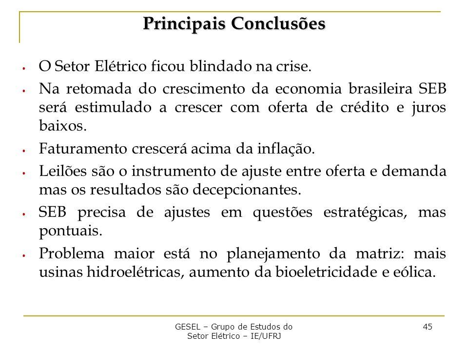 GESEL – Grupo de Estudos do Setor Elétrico – IE/UFRJ 45 Principais Conclusões O Setor Elétrico ficou blindado na crise.