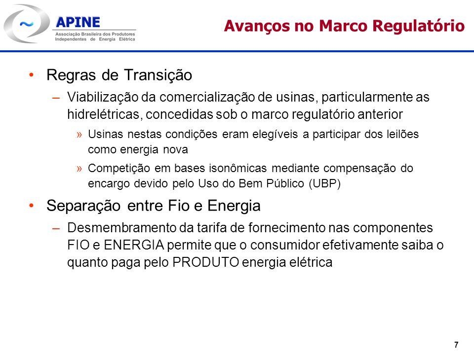 7 Avanços no Marco Regulatório Regras de Transição –Viabilização da comercialização de usinas, particularmente as hidrelétricas, concedidas sob o marc