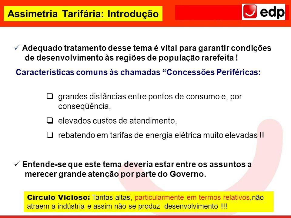 Assimetria Tarifária: Introdução Adequado tratamento desse tema é vital para garantir condições de desenvolvimento às regiões de população rarefeita !