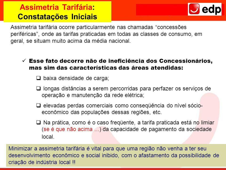 Assimetria Tarifária: Constatações Iniciais Assimetria tarifária ocorre particularmente nas chamadas concessões periféricas, onde as tarifas praticada