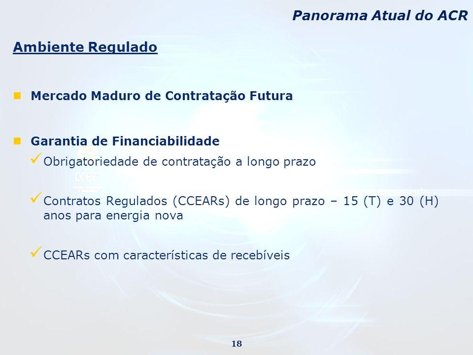 Ambiente Regulado Mercado Maduro de Contratação Futura Garantia de Financiabilidade Obrigatoriedade de contratação a longo prazo Contratos Regulados (