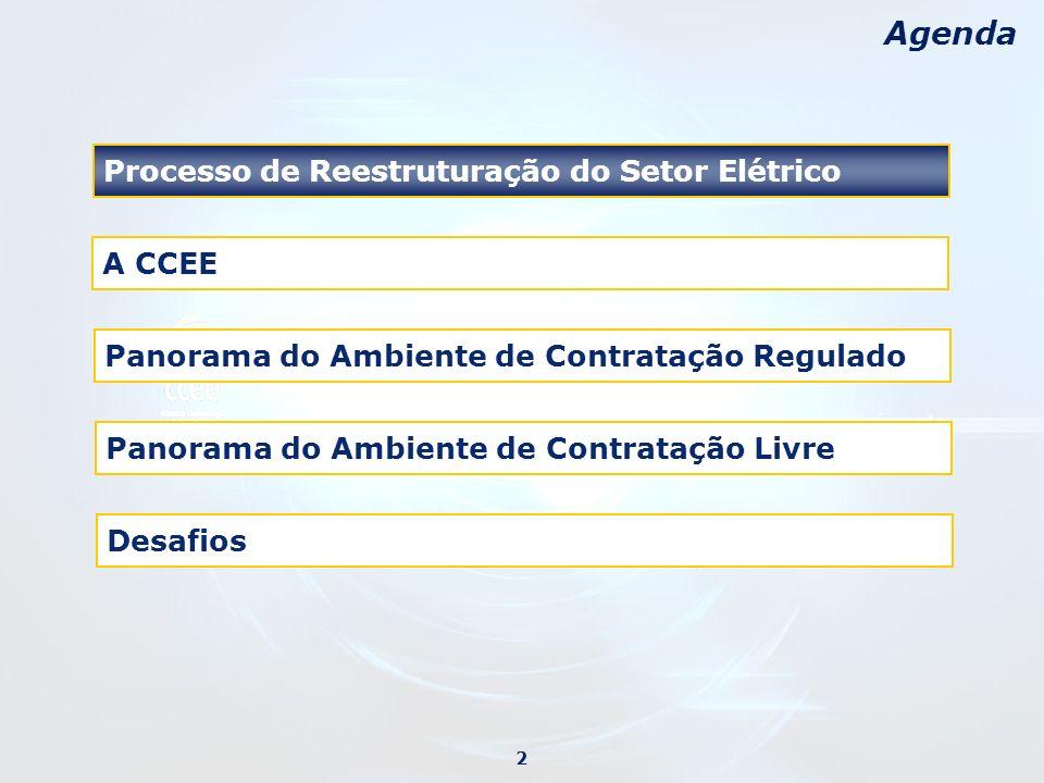 O Processo de Reestruturação e o Marco Regulatório Lei 8.987 – Lei das concessões Lei 9.074 – Modelo regulatório (figura dos consumidores livres e livre acesso a rede elétrica) Início da privatização RESEB – Reestruturação do Setor Elétrico Brasileiro Lei 9.427 – Criação da Agência Nacional de Energia Elétrica (ANEEL) Conclusão dos Documentos do Projeto RESEB Lei 9.648 – Criação do Operador Nacional do Sistema Elétrico (ONS) e do Mercado Atacadista de Energia (MAE) Figura do Comercializador Crise de suprimento (de Junho de 2001 a Fevereiro de 2002) Intervenção no MAE Criação da Câmara de Gestão da Crise do Setor Elétrico – GCE e do Comitê de Revitalização do Modelo do Setor Elétrico Lei 10.433 – Reorganização do MAE e início de sua regulamentação pela ANEEL Lei 10.438 – Acordo Geral Lei 10.848 e Decreto 5.163 – Novo modelo e regras de comercialização Decreto 5.177 – Câmara de Comercialização da Energia Elétrica (CCEE) Decreto 5.175 – Comitê de Monitoramento do Setor Elétrico (CMSE) Decreto 5.184 – Criação da Empresa de Pesquisa Energética - EPE Aprovação das Regras de Mercado Início das operações do MAE (em Setembro) 1995199619971998200020012002 2004 Primeira ReformaRevitalizaçãoNovo Modelo 3