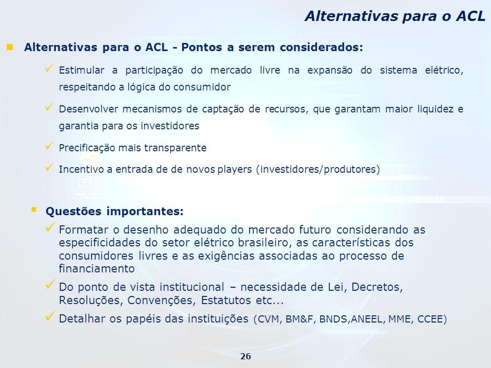 Alternativas para o ACL - Pontos a serem considerados: Estimular a participação do mercado livre na expansão do sistema elétrico, respeitando a lógica
