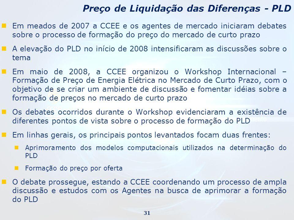 Em meados de 2007 a CCEE e os agentes de mercado iniciaram debates sobre o processo de formação do preço do mercado de curto prazo A elevação do PLD n