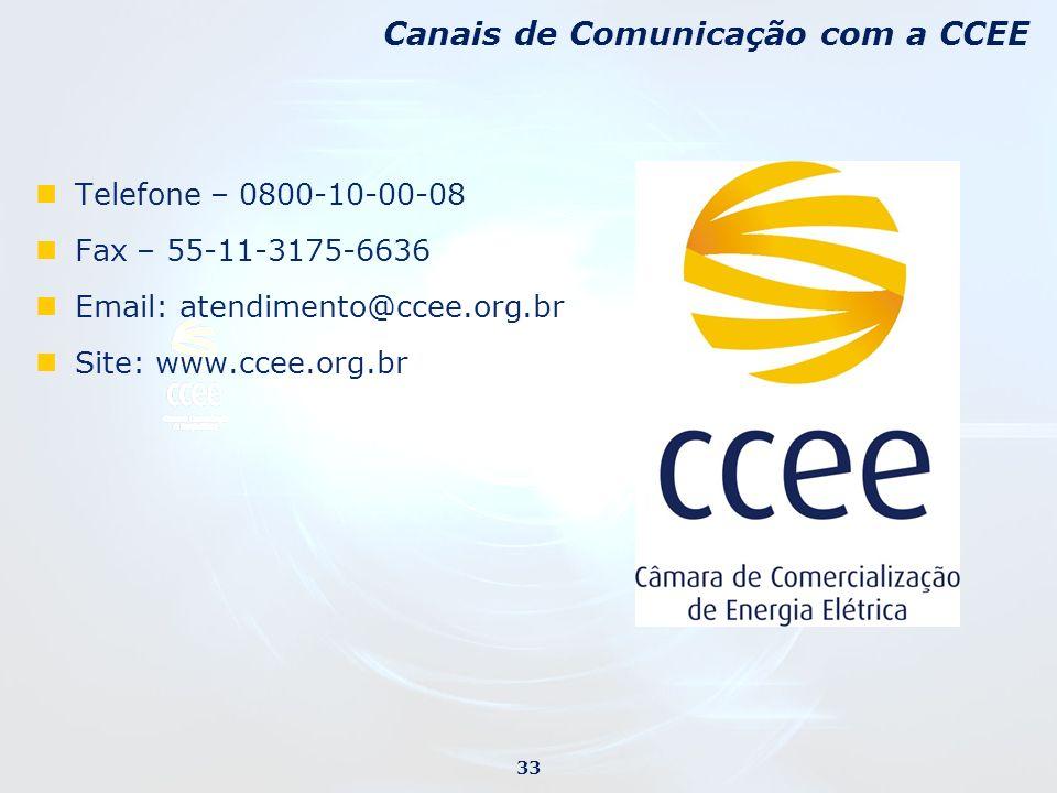 Telefone – 0800-10-00-08 Fax – 55-11-3175-6636 Email: atendimento@ccee.org.br Site: www.ccee.org.br Canais de Comunicação com a CCEE 33