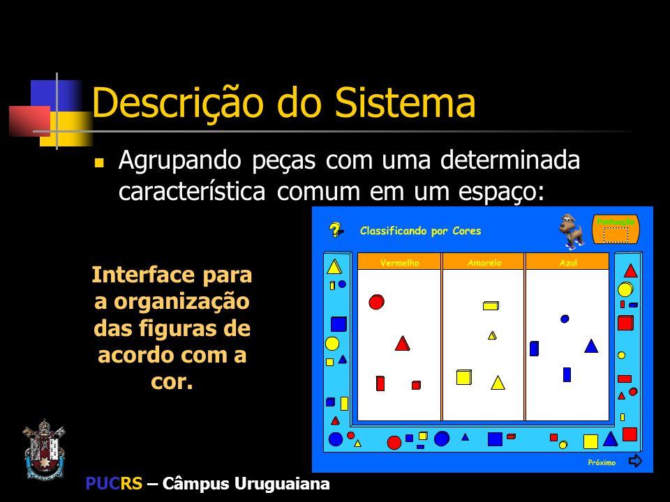 PUCRS – Câmpus Uruguaiana Descrição do Sistema Agrupando peças com uma determinada característica comum em um espaço: Interface para a organização das