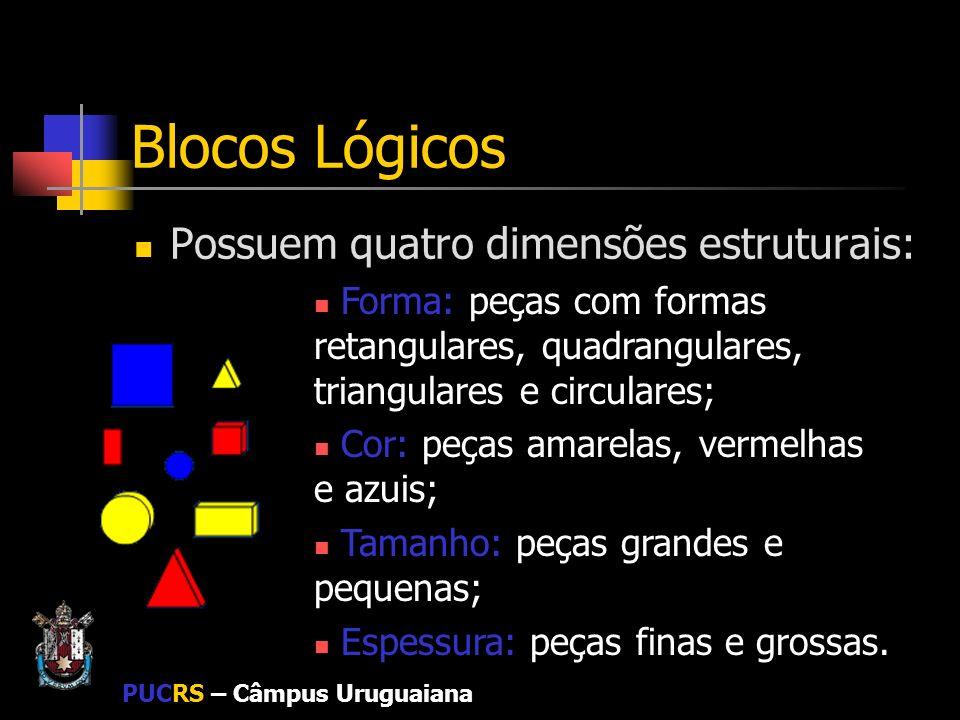 PUCRS – Câmpus Uruguaiana Blocos Lógicos Possuem quatro dimensões estruturais: Forma: peças com formas retangulares, quadrangulares, triangulares e ci