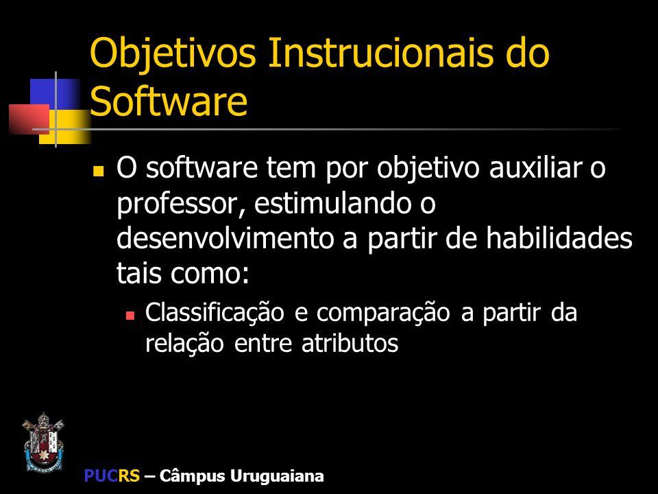 PUCRS – Câmpus Uruguaiana Objetivos Instrucionais do Software O software tem por objetivo auxiliar o professor, estimulando o desenvolvimento a partir