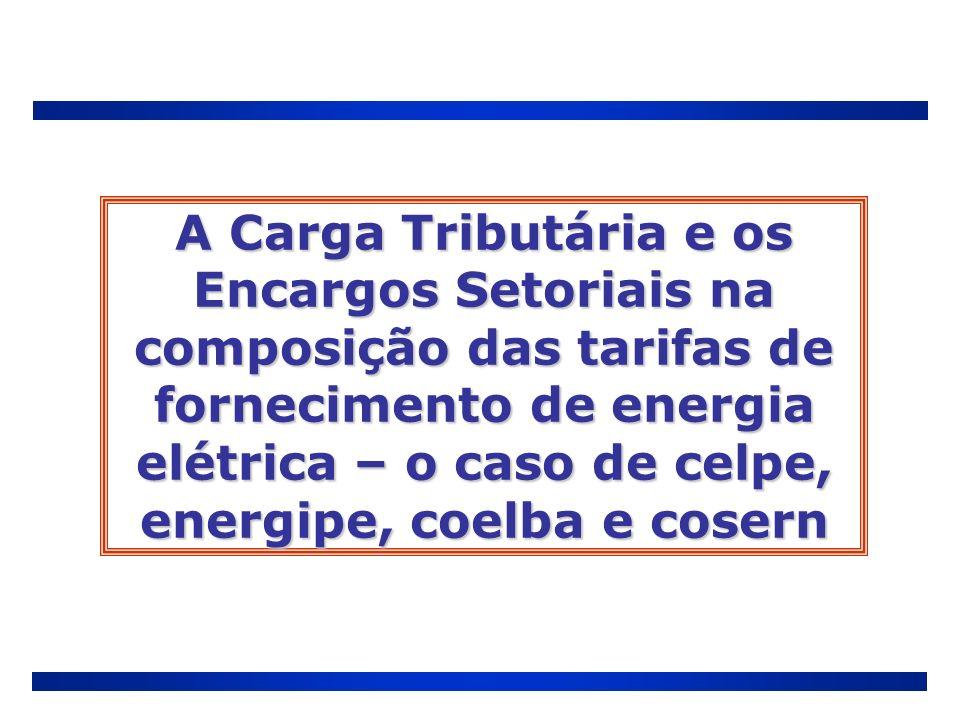 A Carga Tributária e os Encargos Setoriais na composição das tarifas de fornecimento de energia elétrica – o caso de celpe, energipe, coelba e cosern
