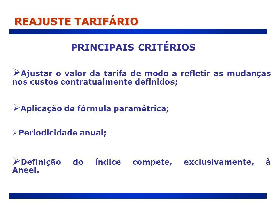 Aplicação de fórmula paramétrica; Periodicidade anual; Definição do índice compete, exclusivamente, à Aneel. Ajustar o valor da tarifa de modo a refle