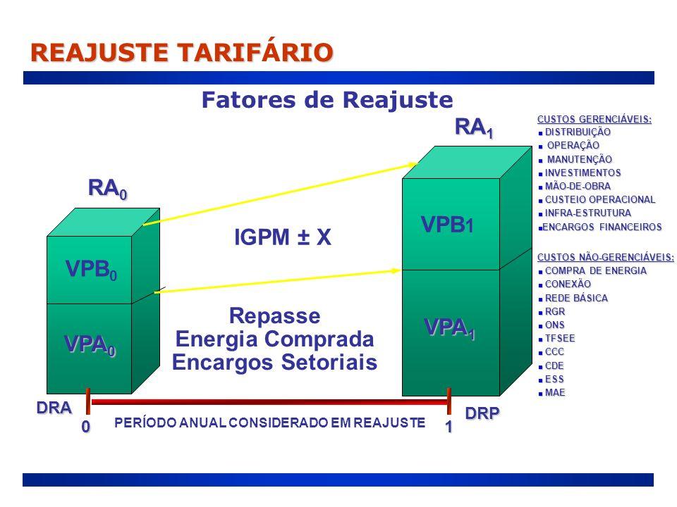 Fatores de Reajuste RA 1 RA 1 RA 0 RA 0 VPA 0 VPB 0 VPA 1 VPB 1 01 IGPM ± X Repasse Energia Comprada Encargos Setoriais DRA DRP PERÍODO ANUAL CONSIDER