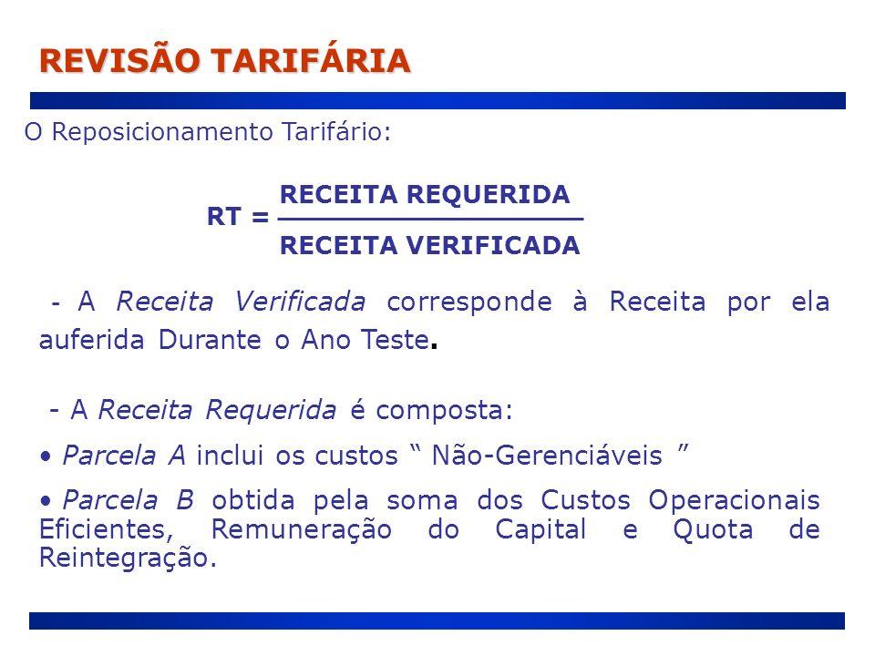 O Reposicionamento Tarifário: RECEITA REQUERIDA RECEITA VERIFICADA RT = - A Receita Verificada corresponde à Receita por ela auferida Durante o Ano Te