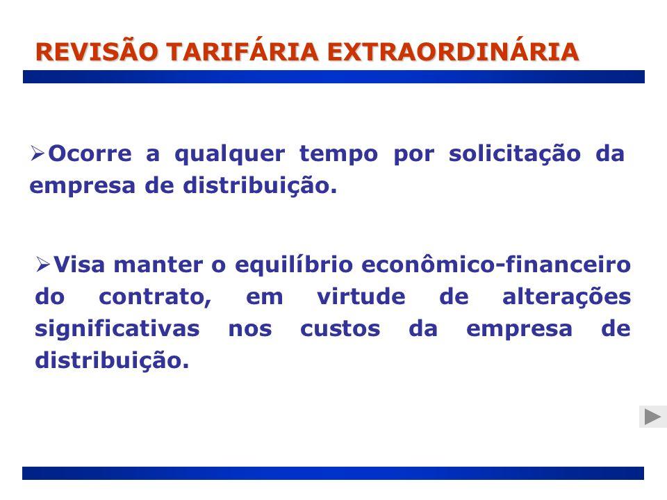 Ocorre a qualquer tempo por solicitação da empresa de distribuição. REVISÃO TARIFRIA EXTRAORDINRIA REVISÃO TARIFÁRIA EXTRAORDINÁRIA Visa manter o equi