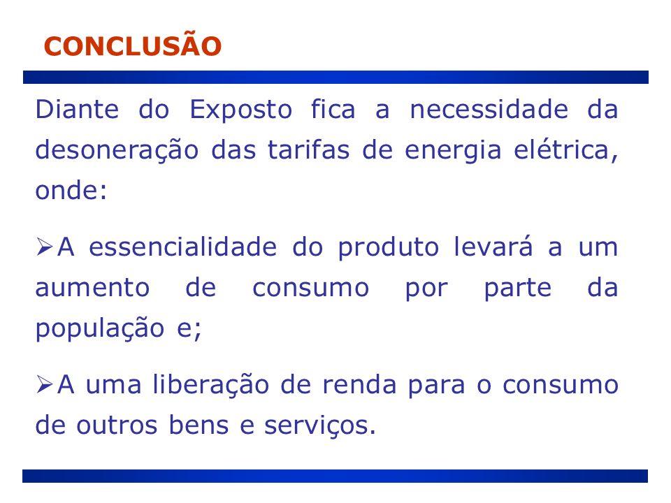 Diante do Exposto fica a necessidade da desoneração das tarifas de energia elétrica, onde: A essencialidade do produto levará a um aumento de consumo
