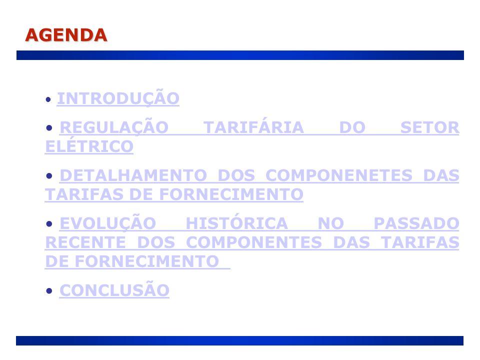 AGENDA INTRODUÇÃO REGULAÇÃO TARIFÁRIA DO SETOR ELÉTRICOREGULAÇÃO TARIFÁRIA DO SETOR ELÉTRICO DETALHAMENTO DOS COMPONENETES DAS TARIFAS DE FORNECIMENTO