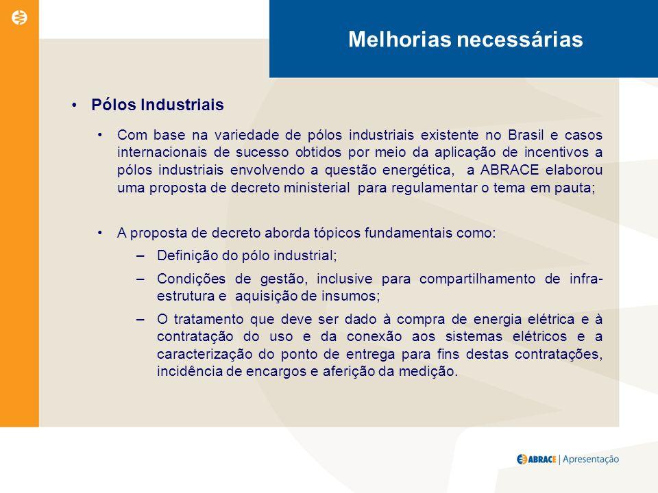 Melhorias necessárias Pólos Industriais Com base na variedade de pólos industriais existente no Brasil e casos internacionais de sucesso obtidos por meio da aplicação de incentivos a pólos industriais envolvendo a questão energética, a ABRACE elaborou uma proposta de decreto ministerial para regulamentar o tema em pauta; A proposta de decreto aborda tópicos fundamentais como: –Definição do pólo industrial; –Condições de gestão, inclusive para compartilhamento de infra- estrutura e aquisição de insumos; –O tratamento que deve ser dado à compra de energia elétrica e à contratação do uso e da conexão aos sistemas elétricos e a caracterização do ponto de entrega para fins destas contratações, incidência de encargos e aferição da medição.