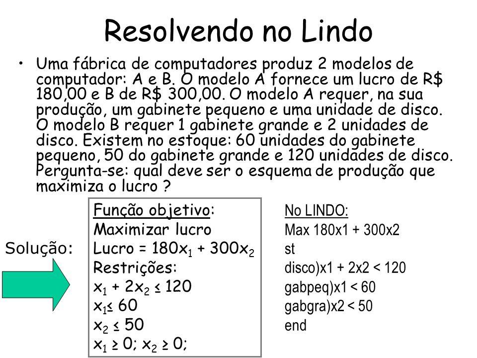 Resolvendo no Lindo Uma fábrica de computadores produz 2 modelos de computador: A e B. O modelo A fornece um lucro de R$ 180,00 e B de R$ 300,00. O mo