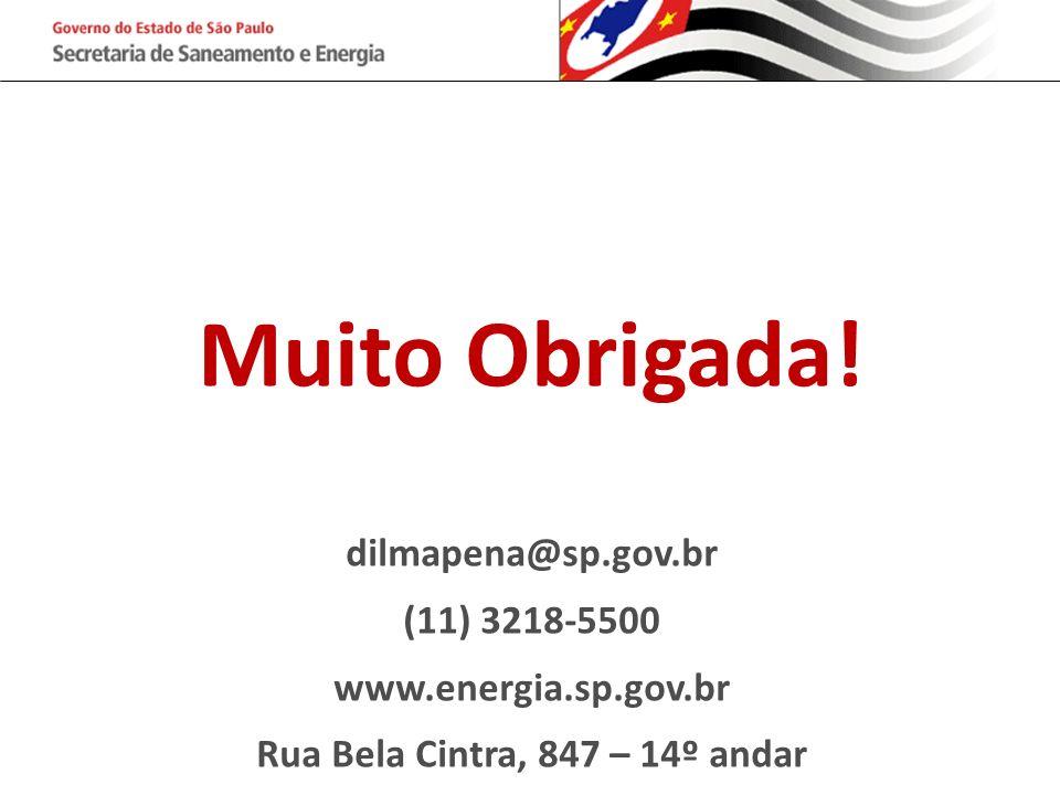 Muito Obrigada! dilmapena@sp.gov.br (11) 3218-5500 www.energia.sp.gov.br Rua Bela Cintra, 847 – 14º andar