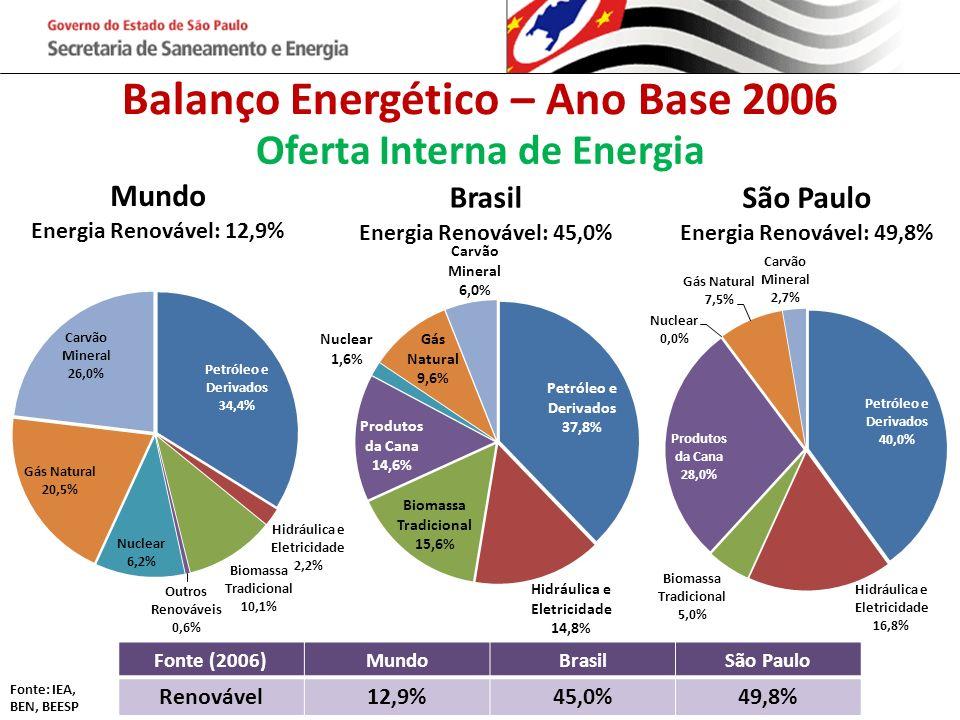 Balanço Energético – Ano Base 2006 Oferta Interna de Energia Fonte (2006)MundoBrasilSão Paulo Renovável12,9%45,0%49,8% Fonte: IEA, BEN, BEESP