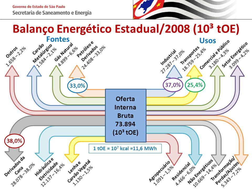 Balanço Energético Estadual/2008 (10³ tOE) Oferta Interna Bruta 73.894 (10³ tOE) Outros 1.658 – 2,2% Carvão Metalúrgico 1.584 – 2,1% Gás Natural 4.899