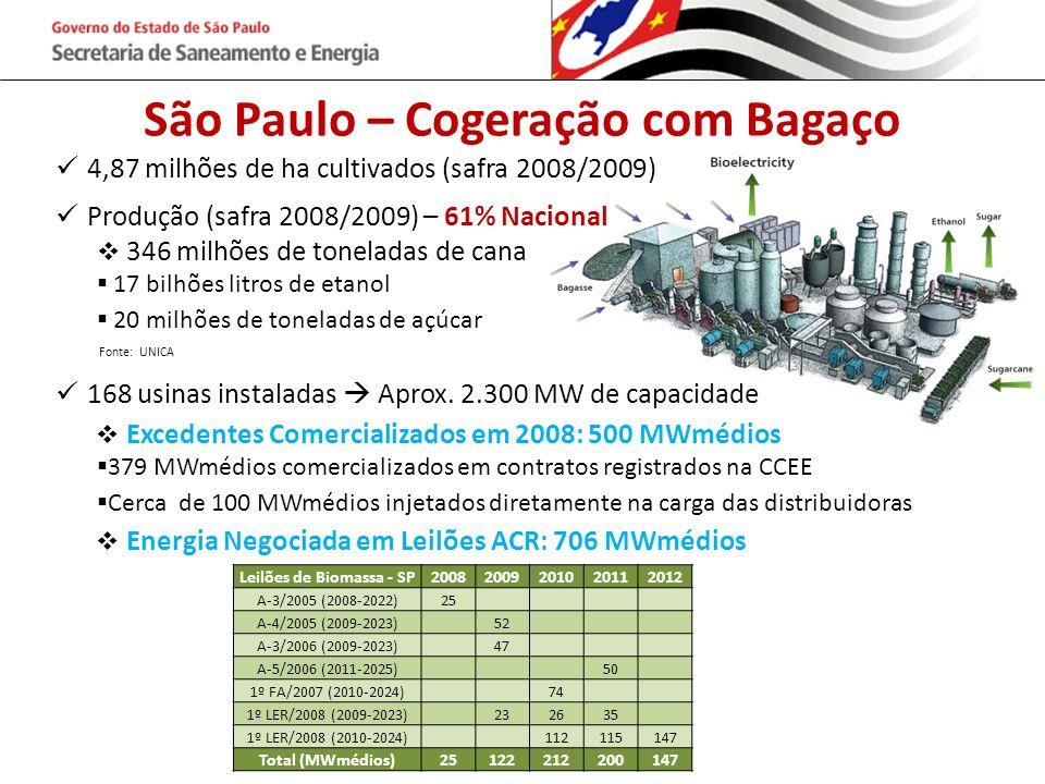 São Paulo – Cogeração com Bagaço 4,87 milhões de ha cultivados (safra 2008/2009) Produção (safra 2008/2009) – 61% Nacional 346 milhões de toneladas de