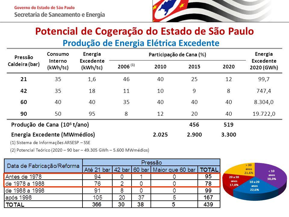 Potencial de Cogeração do Estado de São Paulo Produção de Energia Elétrica Excedente Pressão Caldeira (bar) Consumo Interno (kWh/tc) Energia Excedente