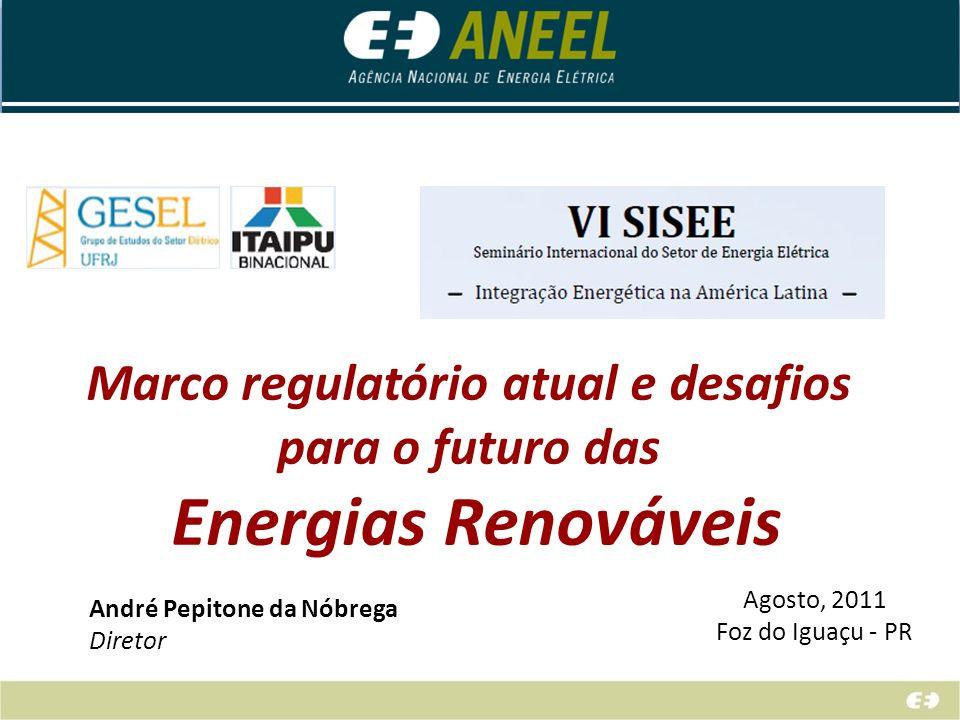 Marco regulatório atual e desafios para o futuro das Energias Renováveis Agosto, 2011 Foz do Iguaçu - PR André Pepitone da Nóbrega Diretor