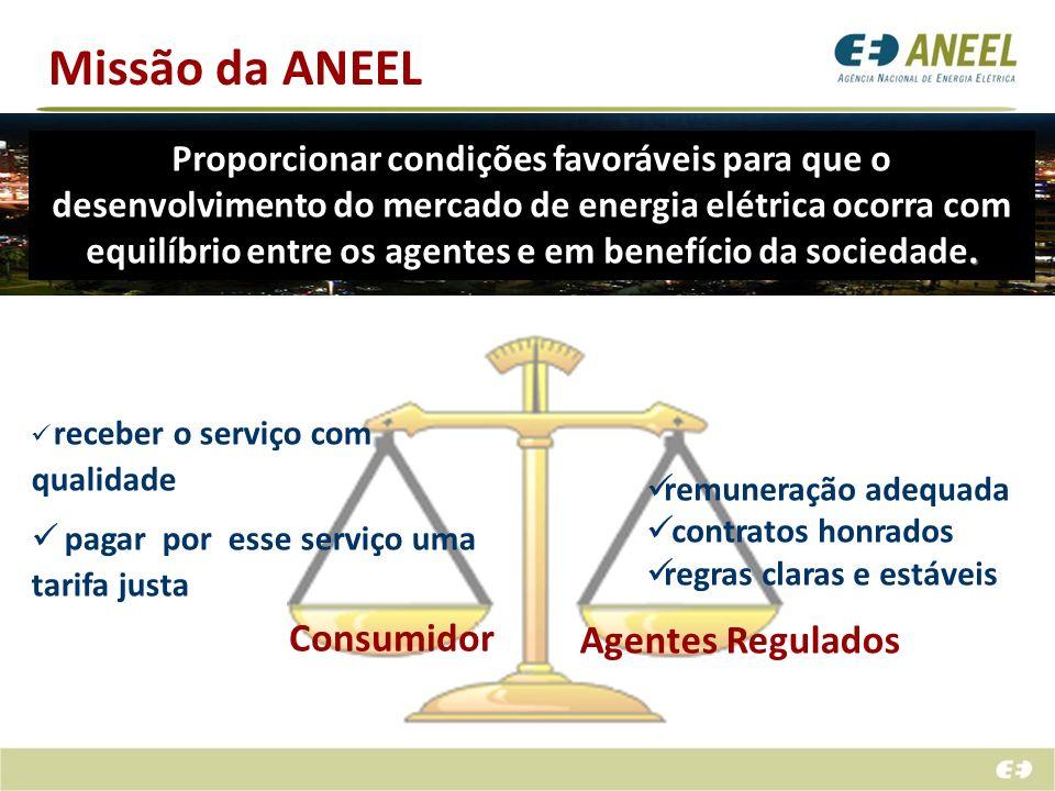 Missão da ANEEL. Proporcionar condições favoráveis para que o desenvolvimento do mercado de energia elétrica ocorra com equilíbrio entre os agentes e
