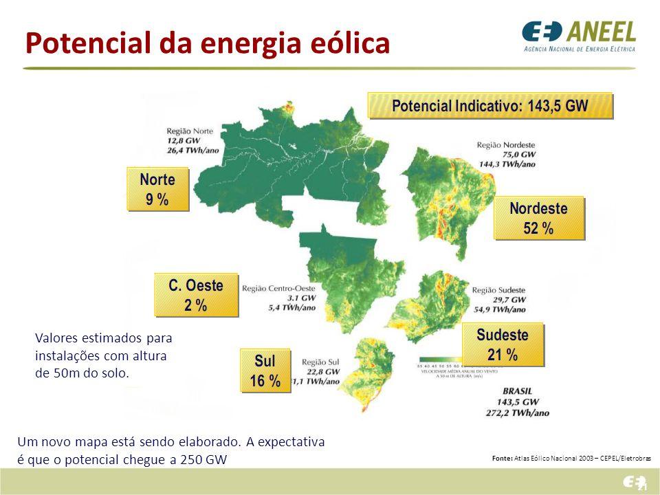 21 Potencial da energia eólica Fonte: Atlas Eólico Nacional 2003 – CEPEL/Eletrobras Um novo mapa está sendo elaborado. A expectativa é que o potencial
