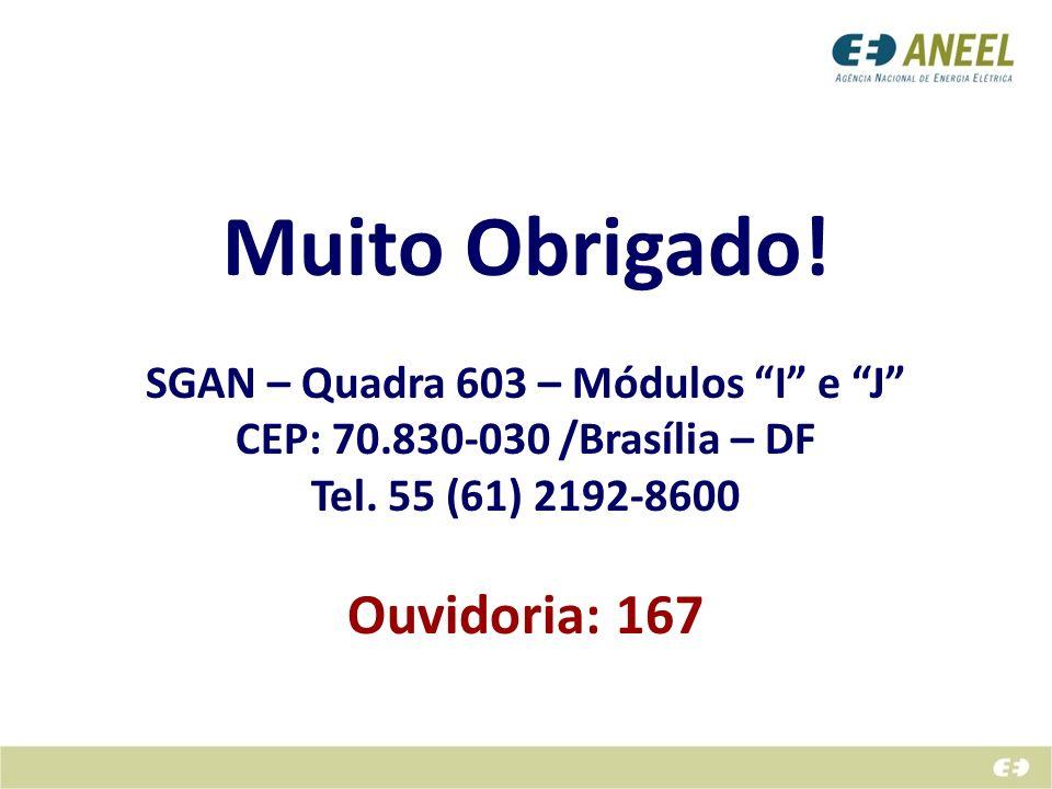 Muito Obrigado! SGAN – Quadra 603 – Módulos I e J CEP: 70.830-030 /Brasília – DF Tel. 55 (61) 2192-8600 Ouvidoria: 167
