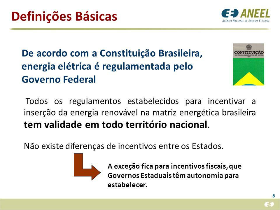 Definições Básicas 5 De acordo com a Constituição Brasileira, energia elétrica é regulamentada pelo Governo Federal A exceção fica para incentivos fis