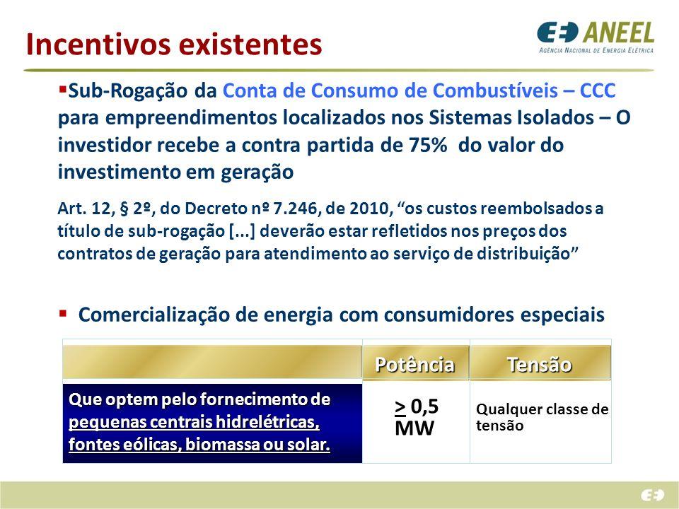 Incentivos existentes Sub-Rogação da Conta de Consumo de Combustíveis – CCC para empreendimentos localizados nos Sistemas Isolados – O investidor rece