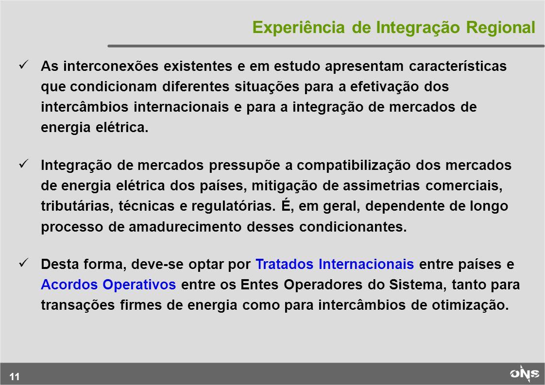 11 Experiência de Integração Regional As interconexões existentes e em estudo apresentam características que condicionam diferentes situações para a e