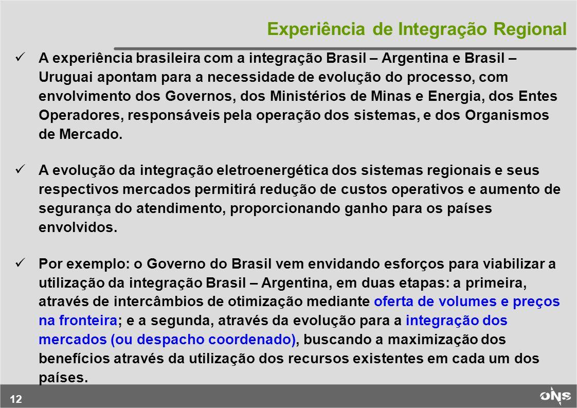 12 Experiência de Integração Regional A experiência brasileira com a integração Brasil – Argentina e Brasil – Uruguai apontam para a necessidade de ev
