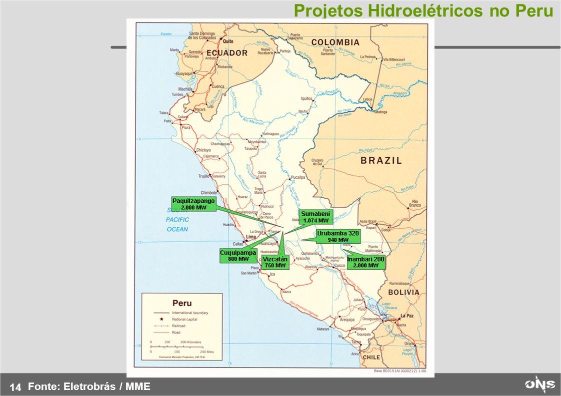14 Projetos Hidroelétricos no Peru Fonte: Eletrobrás / MME