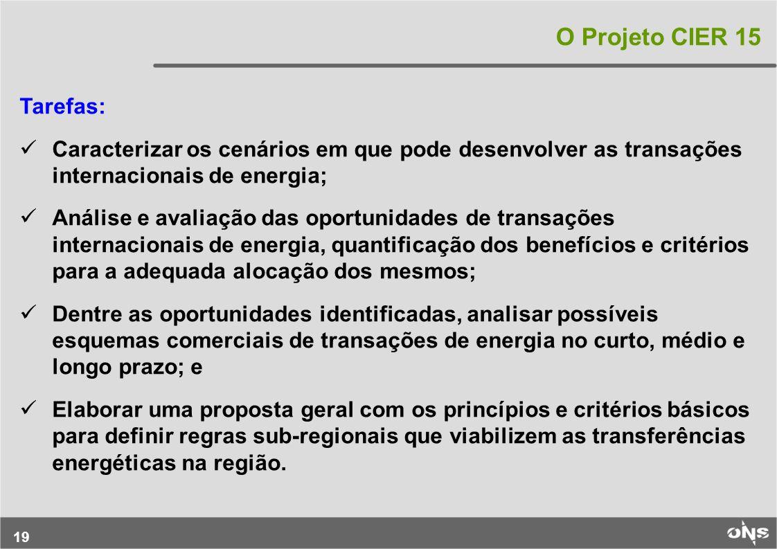19 O Projeto CIER 15 Tarefas: Caracterizar os cenários em que pode desenvolver as transações internacionais de energia; Análise e avaliação das oportu