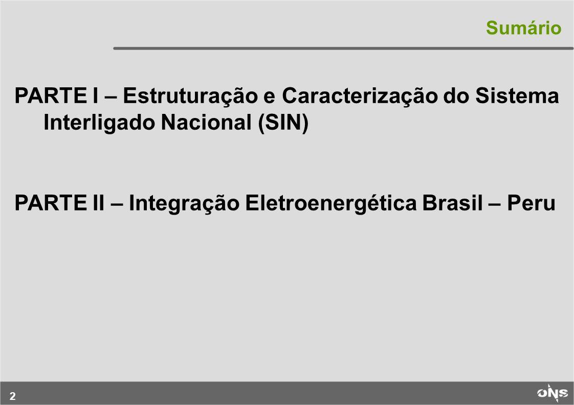 2 PARTE I – Estruturação e Caracterização do Sistema Interligado Nacional (SIN) PARTE II – Integração Eletroenergética Brasil – Peru Sumário