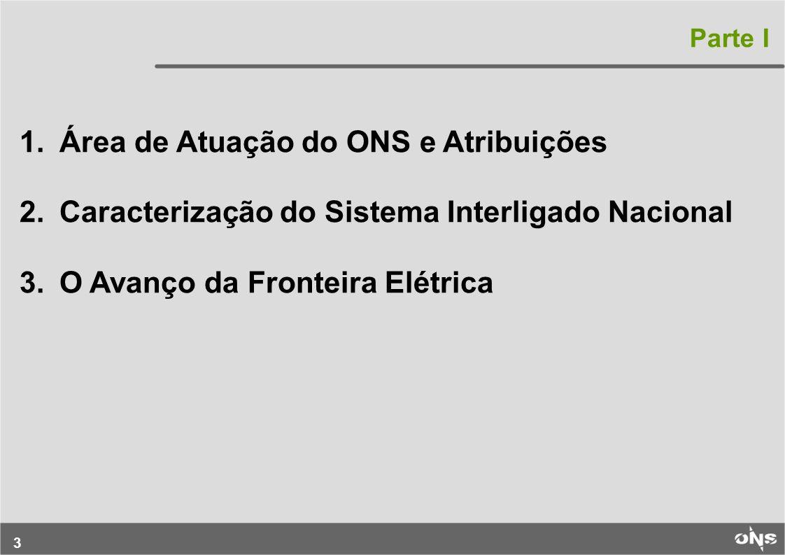3 1.Área de Atuação do ONS e Atribuições 2.Caracterização do Sistema Interligado Nacional 3.O Avanço da Fronteira Elétrica Parte I
