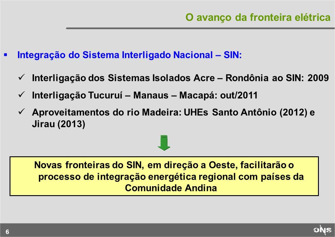 6 O avanço da fronteira elétrica Integração do Sistema Interligado Nacional – SIN: Interligação dos Sistemas Isolados Acre – Rondônia ao SIN: 2009 Int