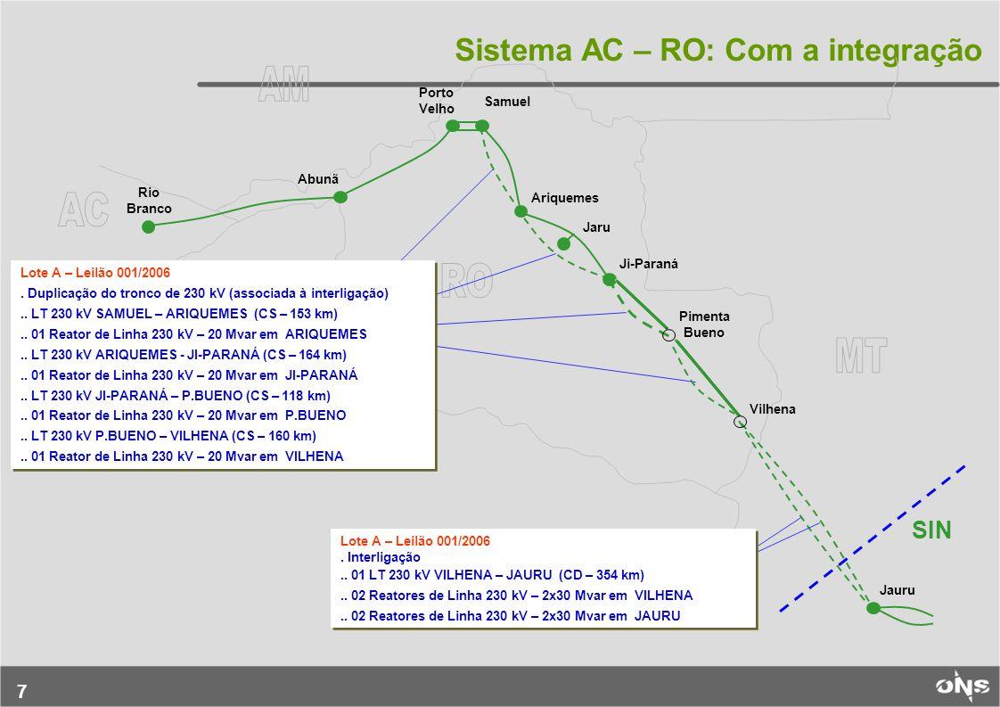 7 Sistema AC – RO: Com a integração Rio Branco Abunã Porto Velho Samuel Ariquemes Jaru Ji-Paraná Pimenta Bueno Vilhena Jauru Lote A – Leilão 001/2006.