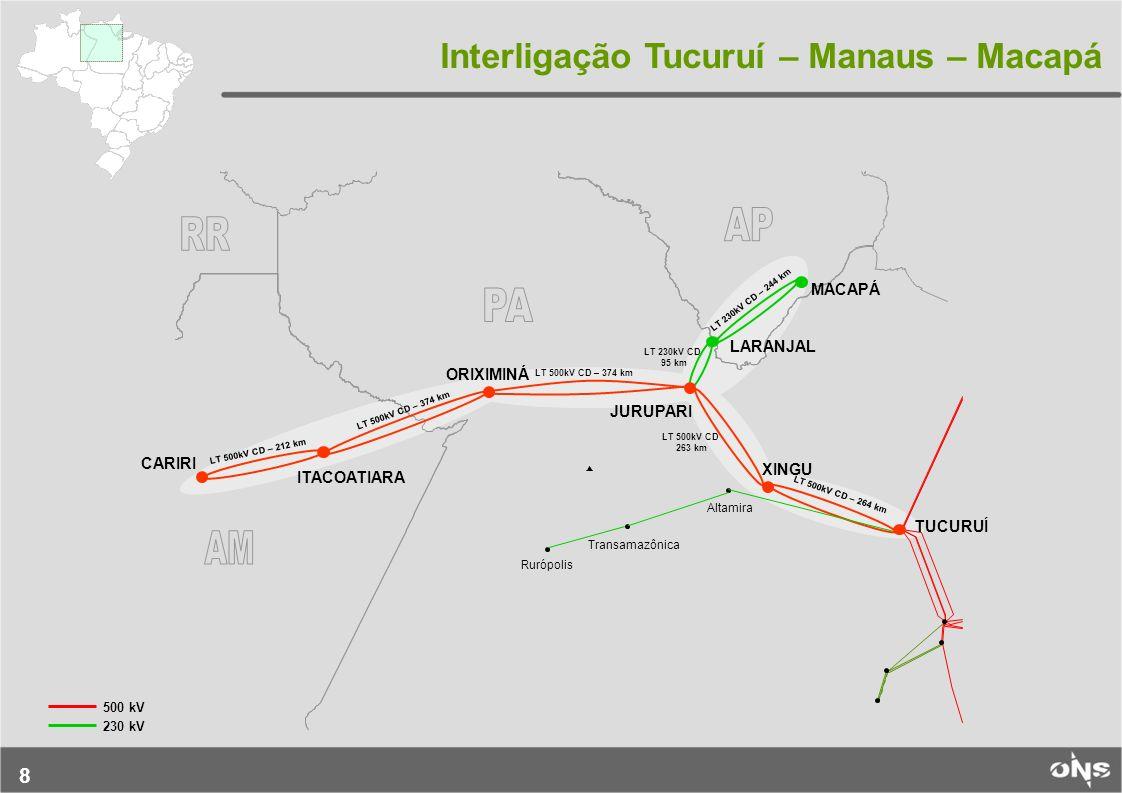 8 LT 500kV CD – 212 km LT 500kV CD – 374 km LT 230kV CD 95 km LT 230kV CD – 244 km LT 500kV CD – 264 km LT 500kV CD 263 km Altamira Transamazônica Rur