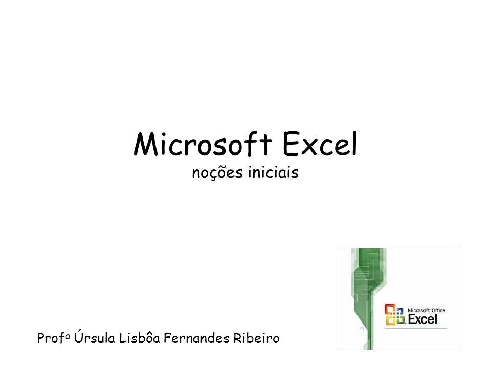 Microsoft Excel noções iniciais Prof a Úrsula Lisbôa Fernandes Ribeiro